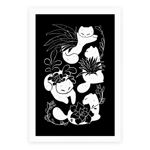 Succulent Cats Poster