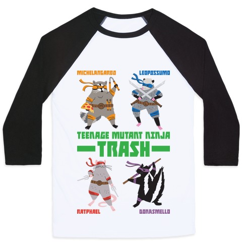 Teenage Mutant Ninja Trash TMNT Parody Baseball Tee