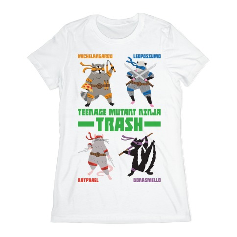 Teenage Mutant Ninja Trash TMNT Parody Womens T-Shirt