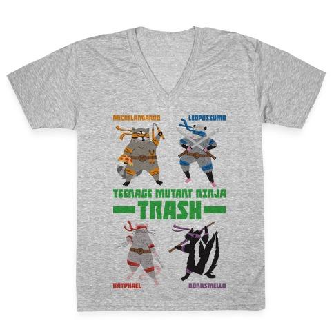 Teenage Mutant Ninja Trash TMNT Parody V-Neck Tee Shirt