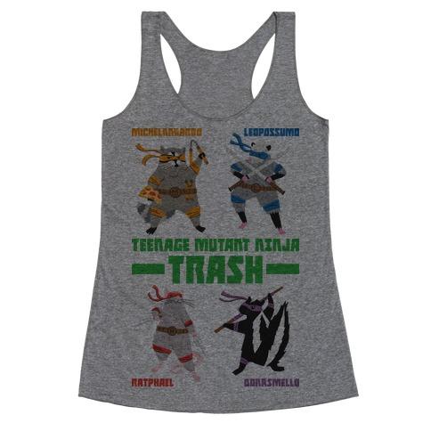 Teenage Mutant Ninja Trash TMNT Parody Racerback Tank Top