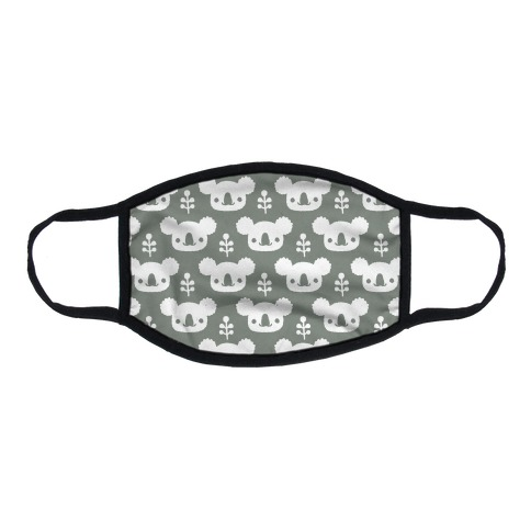 Koala and Eucalyptus Boho Pattern Grey Flat Face Mask