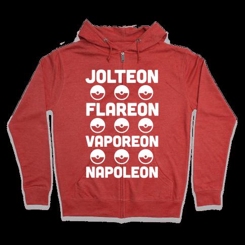 Jolteon Flareon Vaporeon Napoleon Zip Hoodie