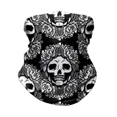 Floral Skulls Pattern Neck Gaiter