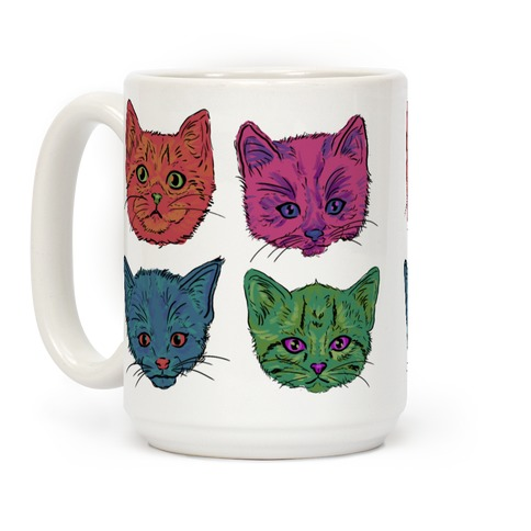 Colorful Kitten Square Pattern Coffee Mug