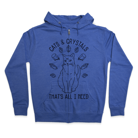 Cats and Crystals Zip Hoodie