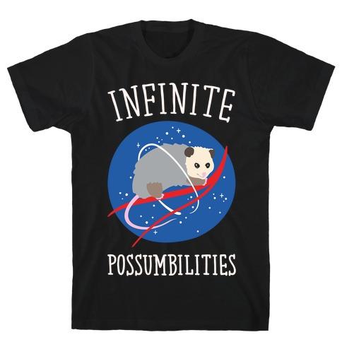 Infinite Possumbilities Parody White Print T-Shirt