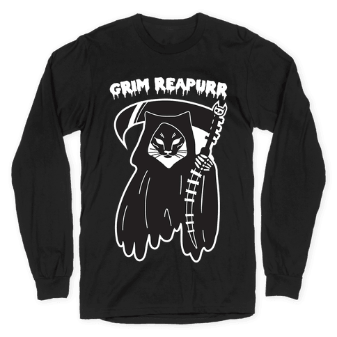 Grim Reapurr Cat Long Sleeve T-Shirt