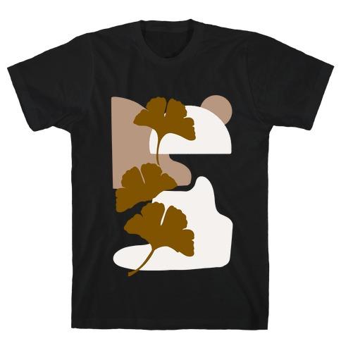 Minimalist Ginkgo Leaf Illustration T-Shirt