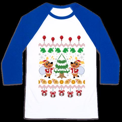 Jingle Animal Crossing Ugly Sweater Baseball Tee