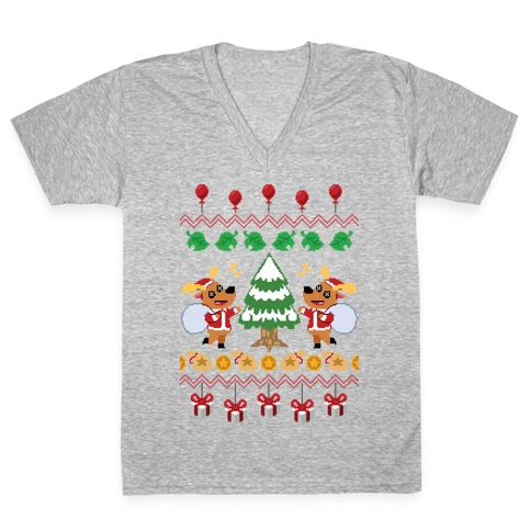 Jingle Deer Ugly Sweater V-Neck Tee Shirt