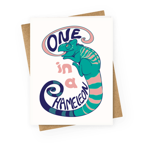 One in a Chameleon Greeting Card