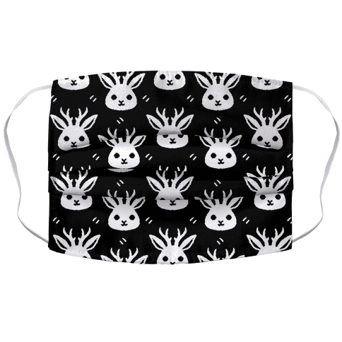 Cute Jackalope Black and White Pattern Face Mask Cover