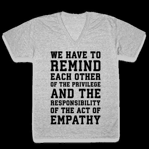 The Act of Empathy  V-Neck Tee Shirt