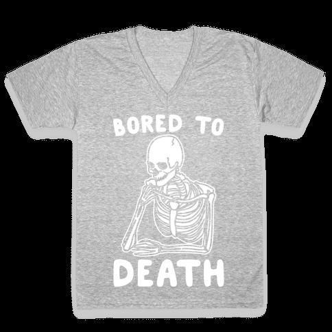 Bored To Death White Print V-Neck Tee Shirt