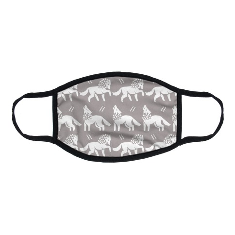 Wolf Grey Boho Pattern Flat Face Mask