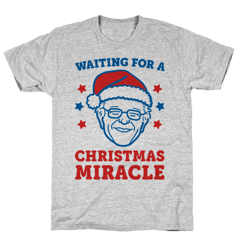 Waiting For A Christmas Miracle Bernie Sanders Mens T-Shirt