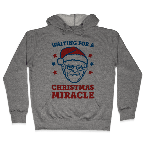Waiting For A Christmas Miracle Bernie Sanders Hooded Sweatshirt