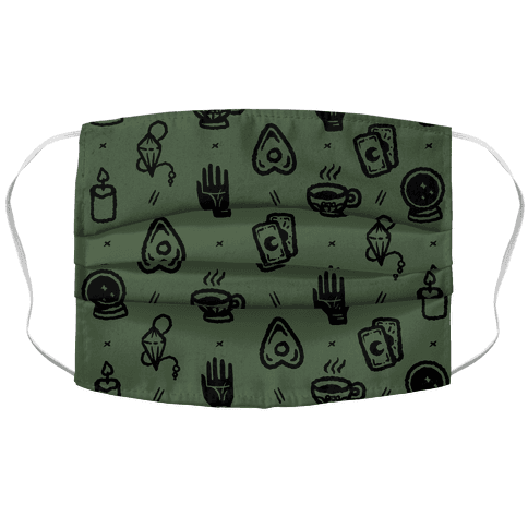 Tools of Divination Pattern Chive Green Accordion Face Mask