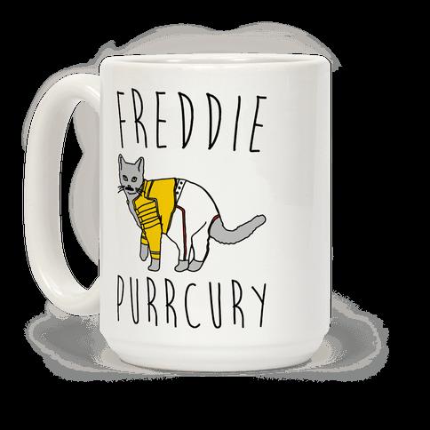Freddie Purrcury Cat Parody Coffee Mug