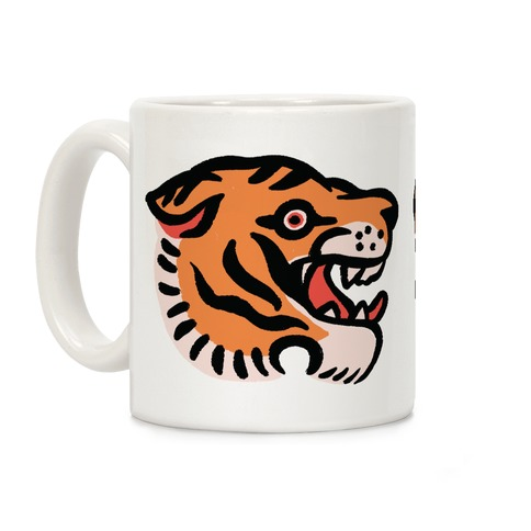 Old School Tiger Tattoo Head Coffee Mug