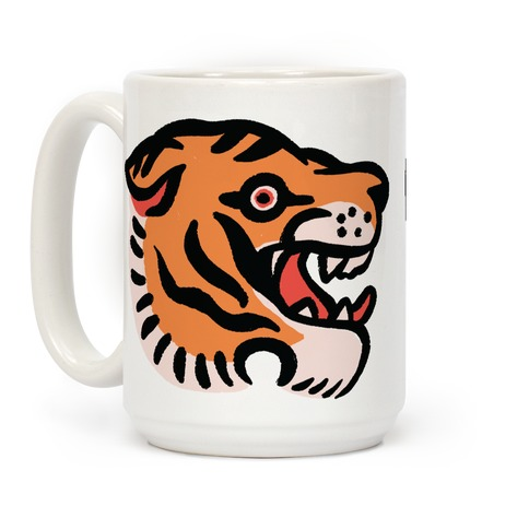 Old School Tiger Tattoo Head Coffee Mug