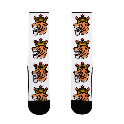 Tiger King Tiger with a Crown Sock