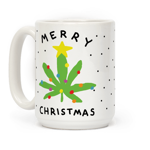 Merry Christmas Pot Leaf Coffee Mug