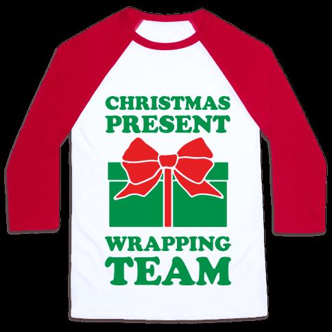 Christmas Present Wrapping Team Baseball Tee