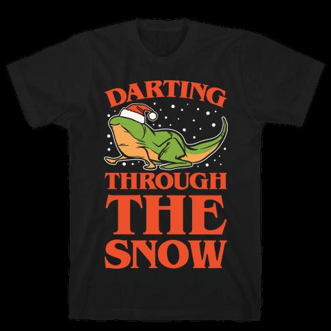 Darting Through The Snow Parody White Print Mens T-Shirt