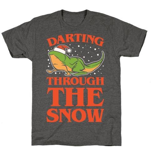 Darting Through The Snow Parody White Print T-Shirt