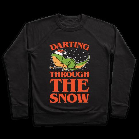 Darting Through The Snow Parody White Print Pullover