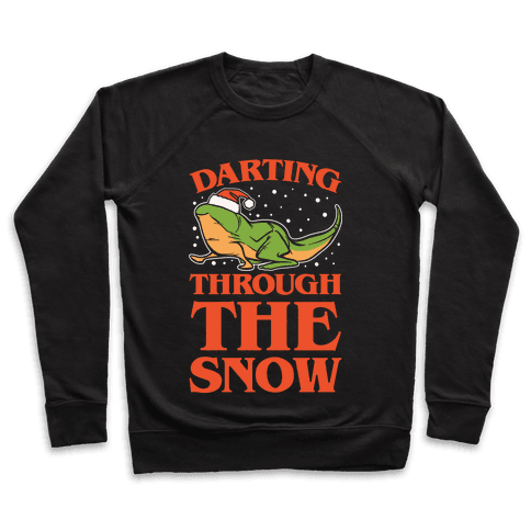 Darting Through The Snow Parody White Print Pullover