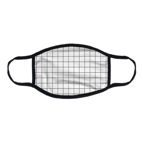 Black and White Black Line Grid Design Flat Face Mask