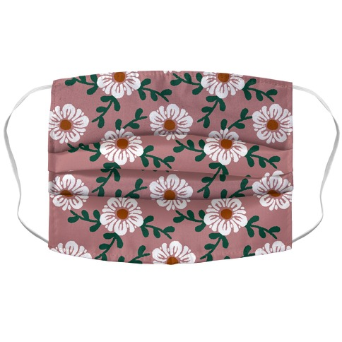 Retro Flowers and Vines Dusty Pink Accordion Face Mask