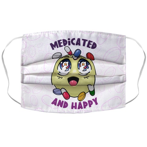 Medicated And Happy Accordion Face Mask