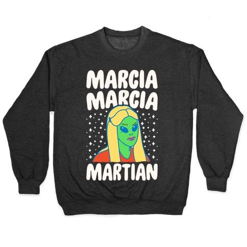 Marcia Marcia Martian Parody White Print Pullover
