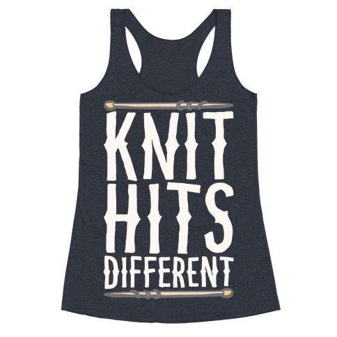 Knit Hits Different White Print Racerback Tank Top