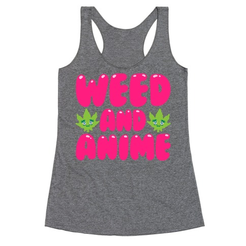 Weed And Anime Racerback Tank Top