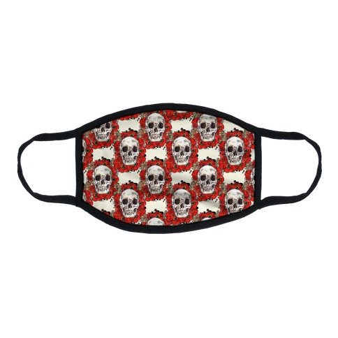 Skull on a Bed of Poppies Pattern Red Flat Face Mask