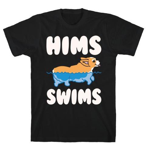 Hims Swims Corgi White Print T-Shirt