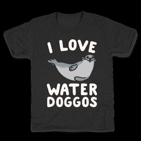 I Love Water Doggos White Print Kids T-Shirt
