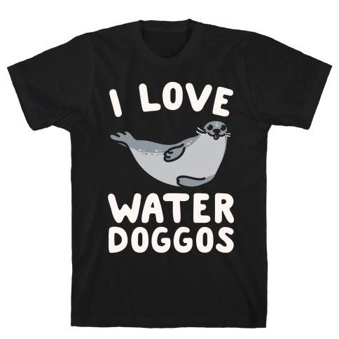 I Love Water Doggos White Print T-Shirt
