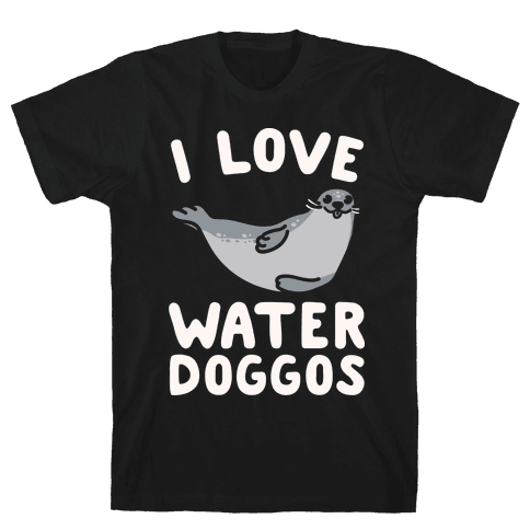 I Love Water Doggos White Print Mens T-Shirt