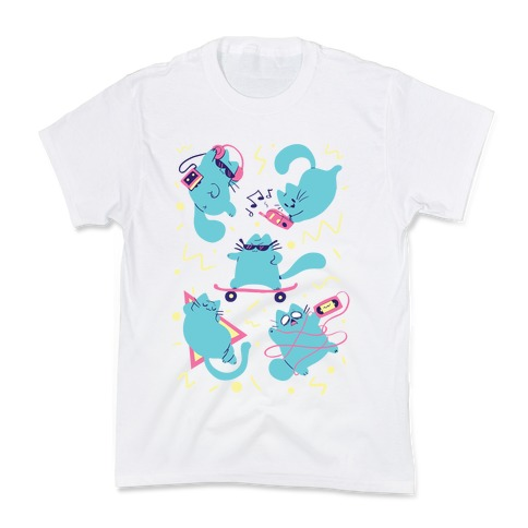 90's Cats Pattern Kids T-Shirt