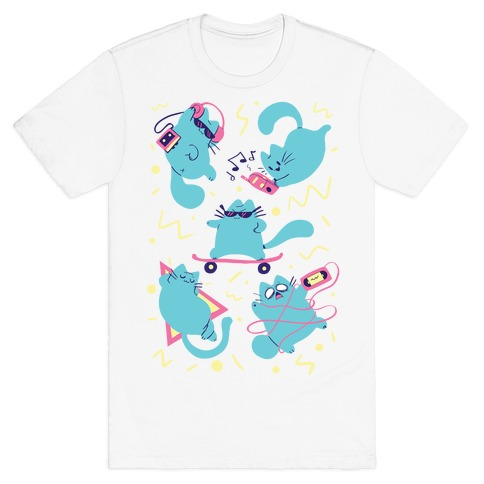 90's Cats Pattern T-Shirt