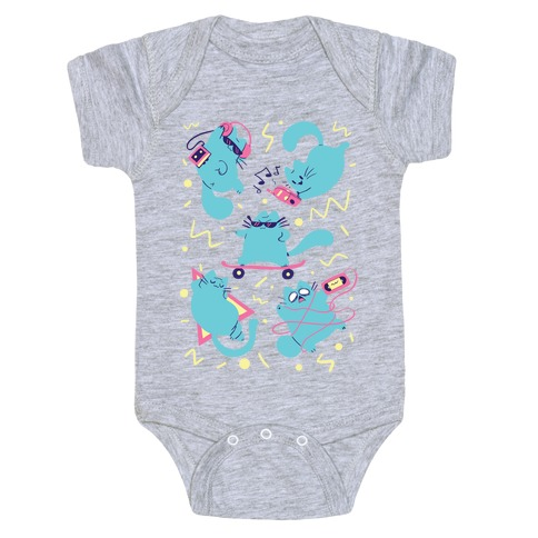 90's Cats Pattern Baby Onesy