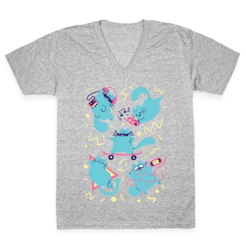 90's Cats Pattern V-Neck Tee Shirt