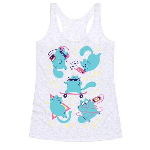 90's Cats Pattern Racerback Tank Top