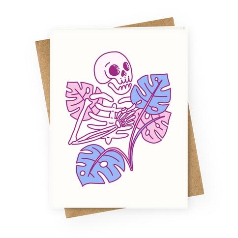 Monstera Skeleton Greeting Card